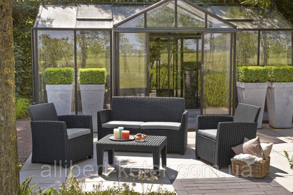 Набор садовой мебели Corona Lounge Set Graphite ( графит ) из искусственного ротанга ( Allibert by Keter )