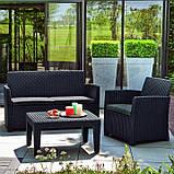 Набор садовой мебели Corona Lounge Set Graphite ( графит ) из искусственного ротанга ( Allibert by Keter ), фото 8