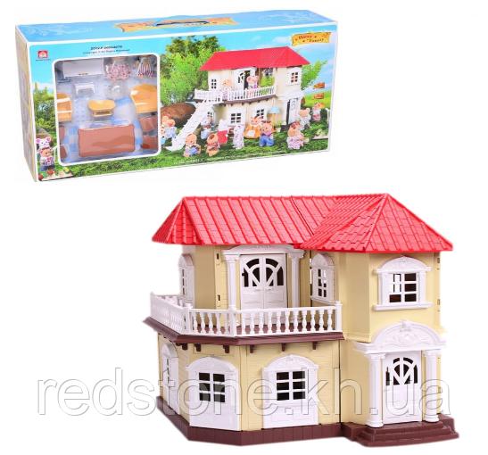 """Домик """"Счастливая семья"""" 012-01, мебель, 2 фигурки, подсветка"""