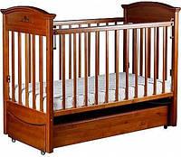 """Детская кроватка """"Наполеон VIP"""" с ящиком и продольным маятником, орех, Laska-M, место для матраса 120*60"""