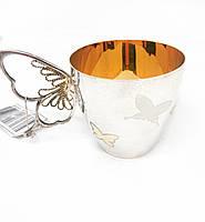 Чашка из серебра Киевский ювелирный завод с ручкой бабочкой