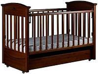 """Детская кроватка """"Наполеон VIP""""с ящиком и продольным маятником, темный орех, Laska-M, место для матраса 120*60"""