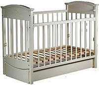 """Детская кроватка """"Наполеон VIP"""" с ящиком и продольным маятником, ваниль, Laska-M, место для матраса 120*60"""
