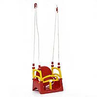 Качели детские пластиковые подвесные 3в1 от 1 года до 12 лет красные с желтым детские Doloni Toys