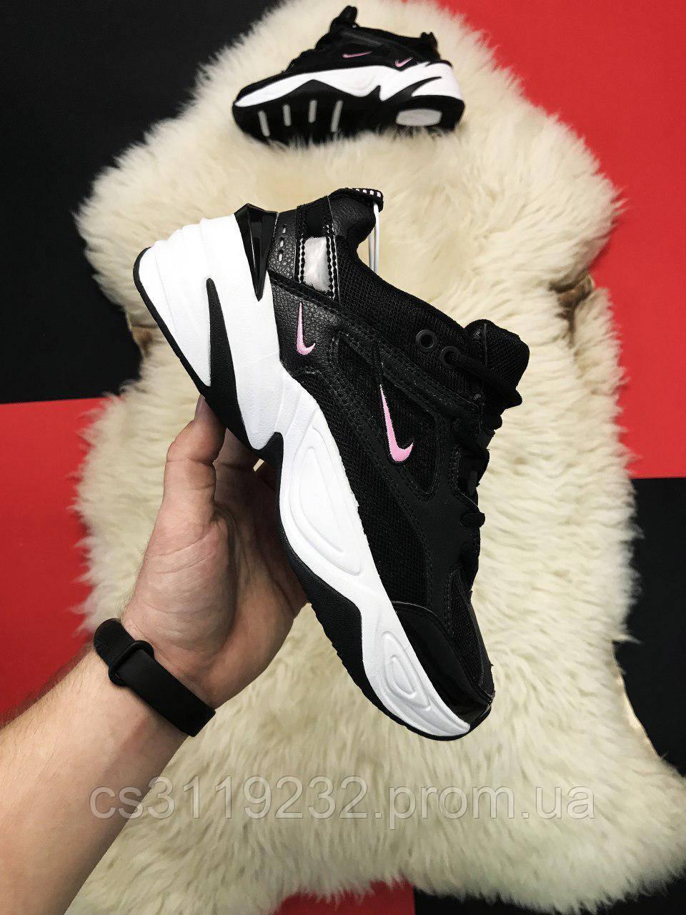 Женские кроссовки  Nike M2K Tekno Black White Pink logo (черные)