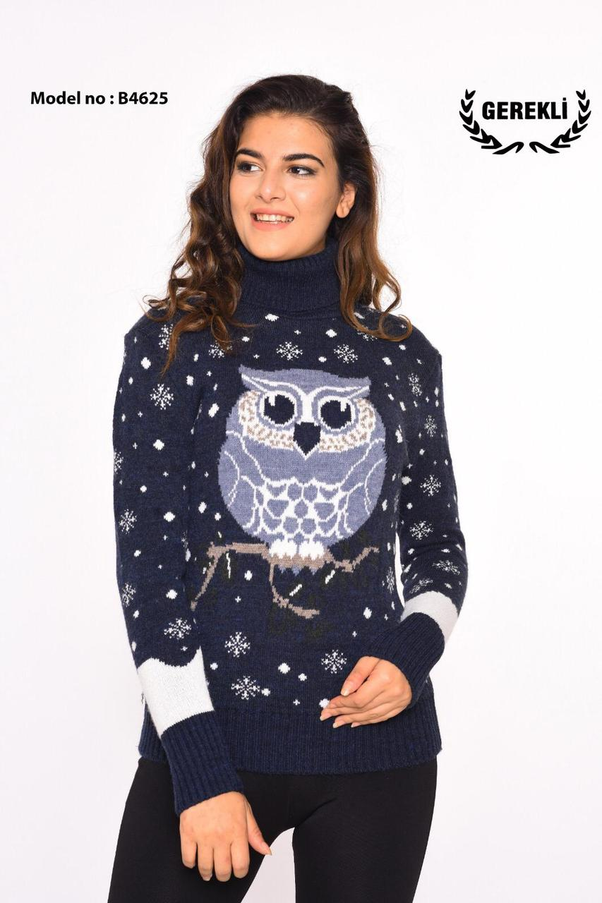 Вязаные женские шерстяные свитера с совой оптом и в розницу G 4625