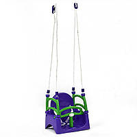 Качели детские пластиковые подвесные 3в1 от 1 года до 12 лет фиолетовые детские Doloni Toys