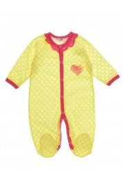 """Человечек для девочки """"Сердце"""", желтый в булый горошек, Merry Bee, размер  56"""