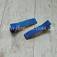 Основа для заколки с репсовой лентой , 5 см. Синяя, фото 1