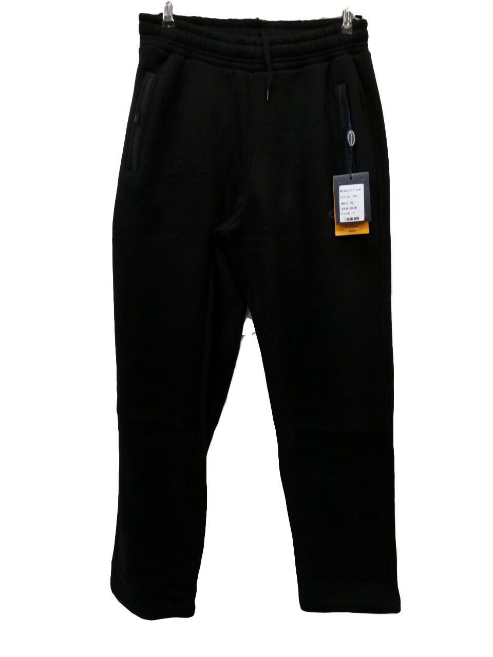 Штани теплі чоловічі Escetic прямі зимові спортивні штани Чорні