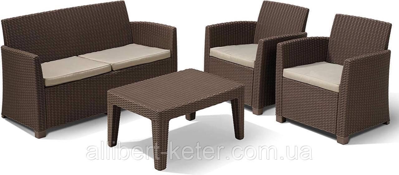 Набір садових меблів Corona Lounge Set Brown ( коричневий ) з штучного ротанга ( Allibert by Keter )