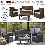 Набір садових меблів Corona Lounge Set Brown ( коричневий ) з штучного ротанга ( Allibert by Keter ), фото 8