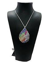 "Кулон из серебра 925 с кристаллами Swarovski Beauty bar ""Капля"" 65 см, фото 1"