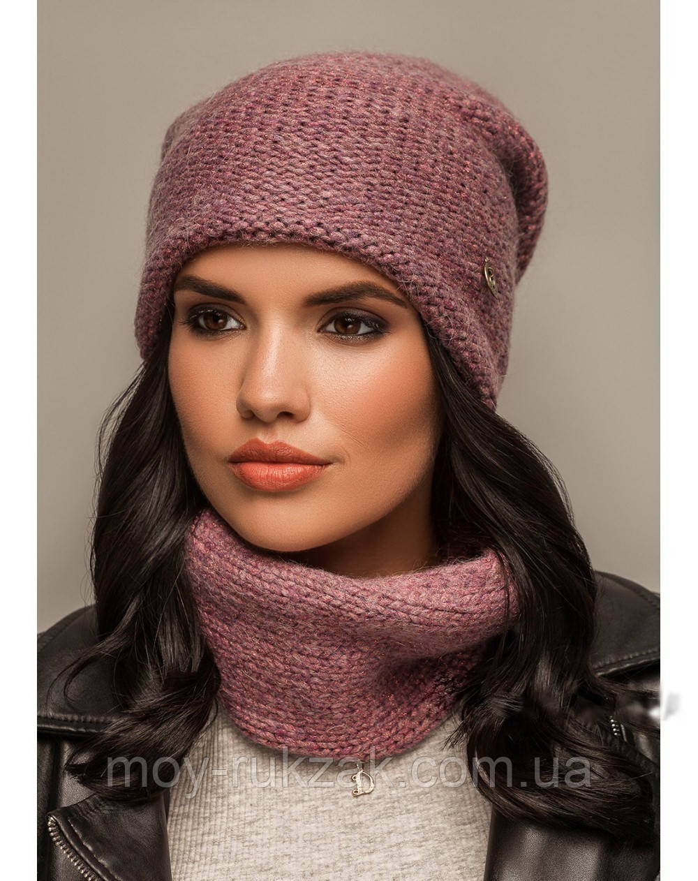 """Комплект шапка и шарф вязаные """"Ниса"""" сиреневый 906991-2"""