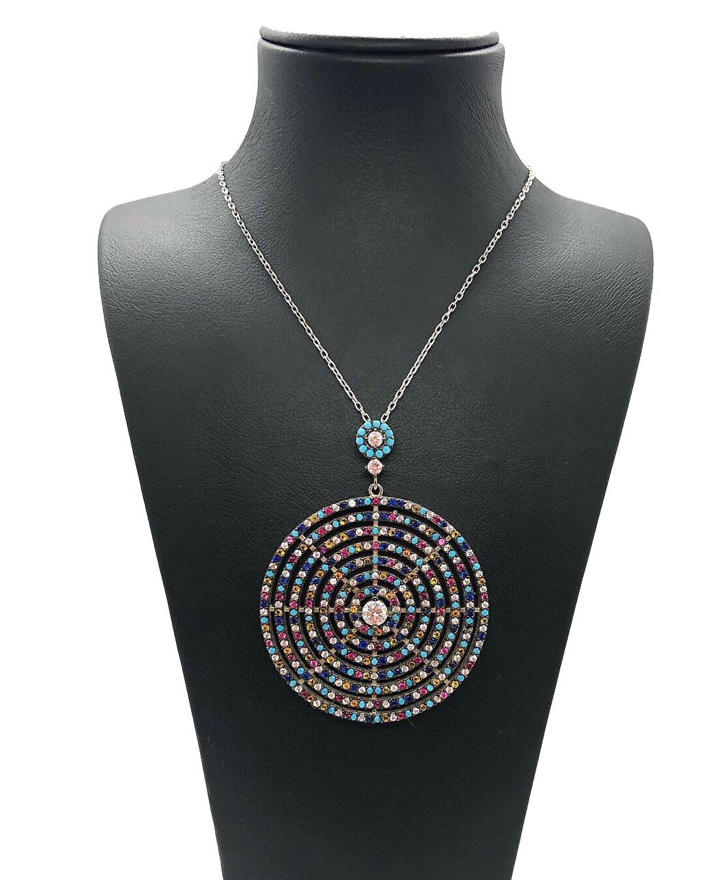 """Кулон з срібла 925 з кристалами Swarovski Beauty bar """"Коло"""" 50 см"""