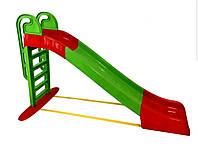 Горка детская пластиковая большая зеленая с красным от 2х лет Doloni Toys - длинна 240см высота 151см