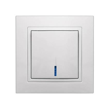 """Выключатель одинарный встроенный белый с LED подсветкой серия  """"ЭЛЕГАНТ"""""""