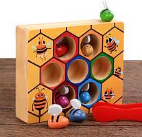 Развивающий деревянный сортер Пчелиный улей с пинцетом