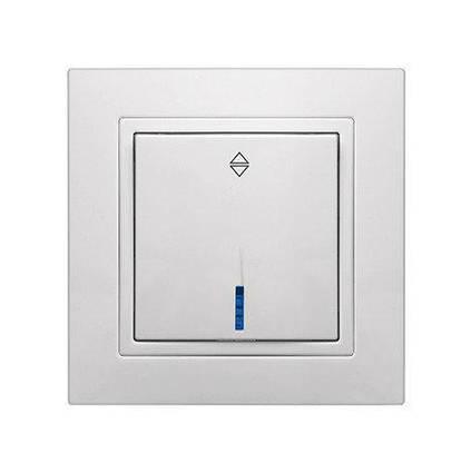 """Выключатель одинарный проходной встроенный белый с LED подсветкой серия  """"ЭЛЕГАНТ"""""""