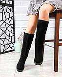 Демисезонные удобные сапоги женские замшевые черные, фото 2