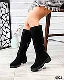 Демисезонные удобные сапоги женские замшевые черные, фото 4