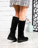 Демисезонные удобные сапоги женские замшевые черные, фото 5
