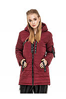 ✔️ Демисезонная женская куртка парка прямого кроя 44-54 размера бордовая