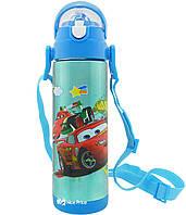 Термос детский с поилкой и шнурком на шею Disney 9030-500 500мл Тачки Голубой #S/O