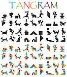 Набір Танграм, 10*10см, 4 кольори, 28 частини, пластик, в поліетиленовому пакеті, фото 2