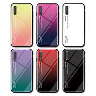 TPU+Glass чехол градиент для Samsung Galaxy A30s 2019 A307 HELLO (Разные цвета)