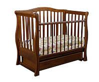 Детская кроватка - диванчик «VIVA» premium, орех, с ящиком, поперечным маятником, Ласка-M, место 120*60