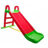 Горка детская пластиковая от 1 года красная с зеленым для малышей Doloni Toys малая - длинна 140см высота 80см