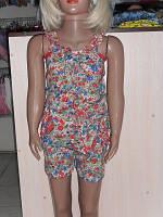 Комбинезон детский с шортами для девочки кулир цветной