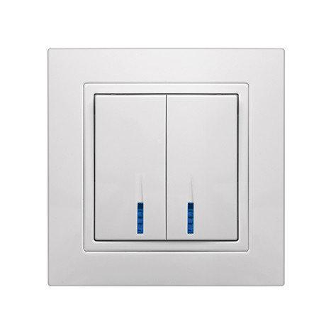 """Выключатель двойной встроенный белый с LED подсветкой серия  """"ЭЛЕГАНТ"""""""