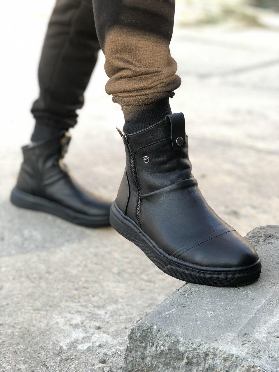 Чоловічі зимові черевики чорні Gross 6572