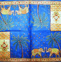 Декупажные салфетки орнамент со слонами на синем фоне 2316