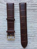 Шкіряний ремінець для годинника Level Kroko 20мм коричневий, фото 1