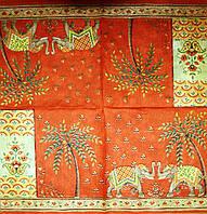 Декупажные салфетки орнамент со слонами на оранжевом фоне 2317