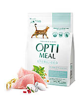 Optimeal сухой корм для стерилизованных и кастрированных котов с индейкой и овсом 0,3КГ