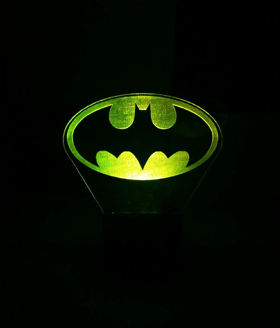 3d-світильник Бетмен лого, 3д-нічник, кілька підсвічувань (на пульті)