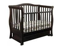Детская кроватка-диванчик «VIVA» premium, темный орех, с ящиком, поперечным маятником,Ласка-M, Украина, 120*60