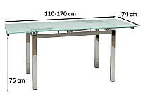 Стол обеденный раскладной Signal GD-017 110-170x74см белый