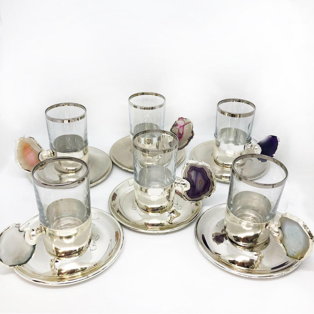Сервиз чайный / кофейный MCA Vizyon из мельхиора с посеребрением и минералами