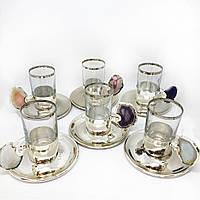 Сервиз чайный / кофейный MCA Vizyon из мельхиора с посеребрением и минералами, фото 1