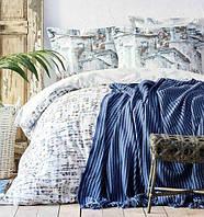 Karaca Home Vella mavi 2020-1 евро комплект постельного белья с пледом, фото 1