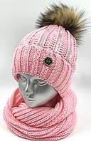 """Комплект шапочка для дівчинки і снуд """"Фольга"""", без зав'язок, код ДФК3055"""