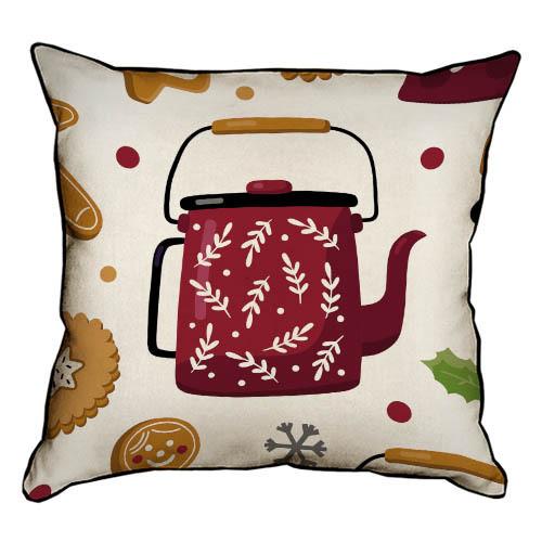 Подушка интерьерная из мешковины Новогодний чайник 45x45 см (45PHB_20NG006)
