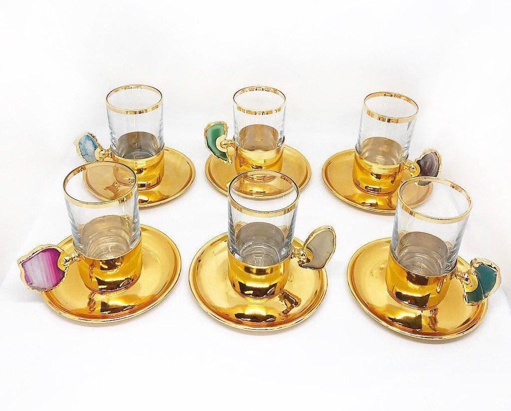 Сервиз чайный / кофейный MCA Vizyon из мельхиора с позолотой и минералами