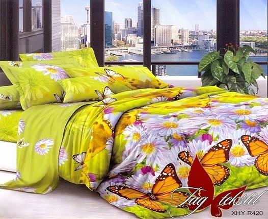 Семейный комплект постельного белья с Цветами и Бабочками, Поликоттон, фото 2