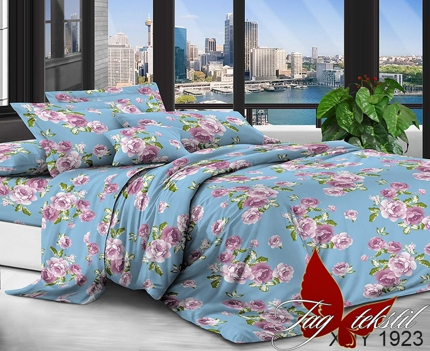 Семейный комплект постельного белья с Цветами, Поликоттон